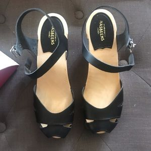 Swedish Hasbeens Super High Black Suzanne Sandals